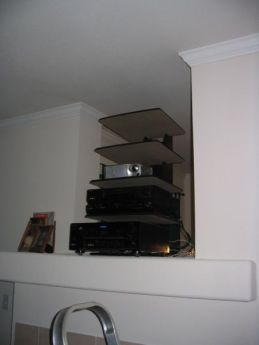 entertainment rack, front side