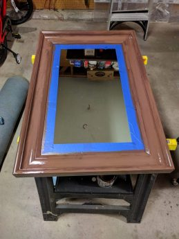 first coat of paint on the mirror frames