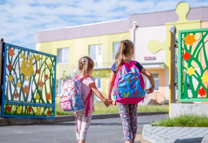 school children in summer