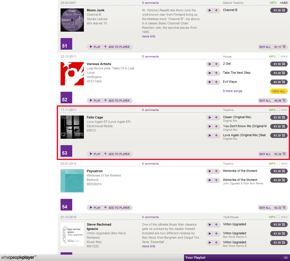 20120108 - Felix Cage - Love Again EP in Top100 Techno on WhatPeoplePlay.com