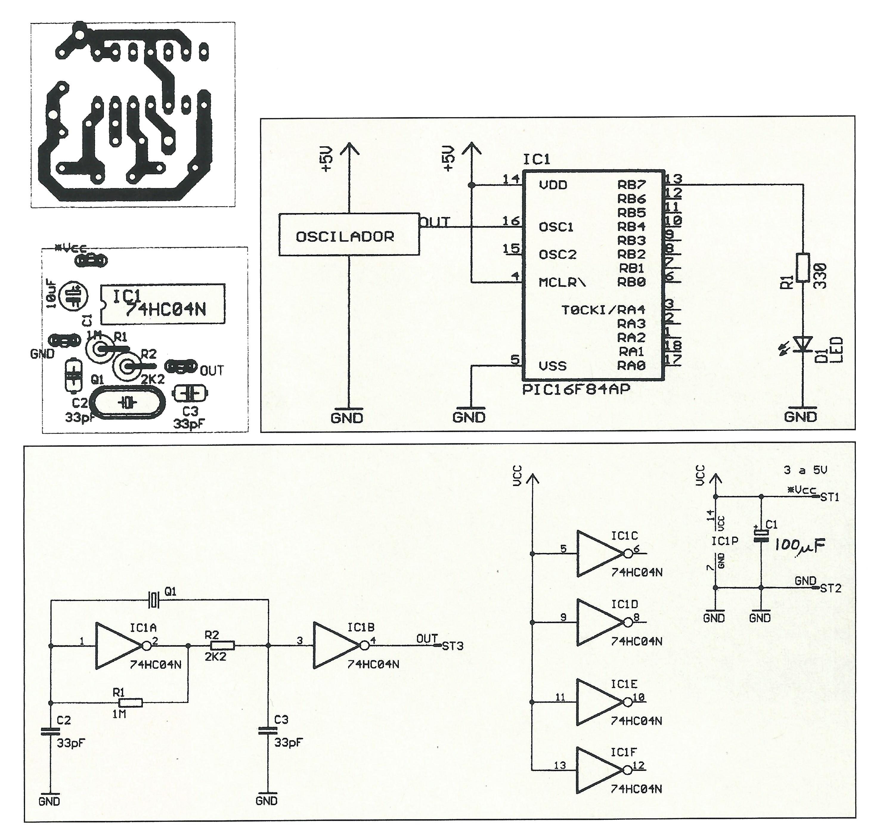 Circuito Oscilador : Oscilador para experimentar con pic de electrónica