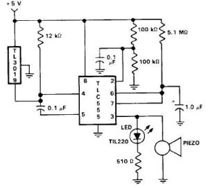 Door open alarm using 555 timer circuit