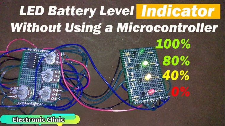 Battery Voltage Monitor, in this project the battery voltage is monitored using the leds. this shows the percentage, lm339 voltage comparator is used.
