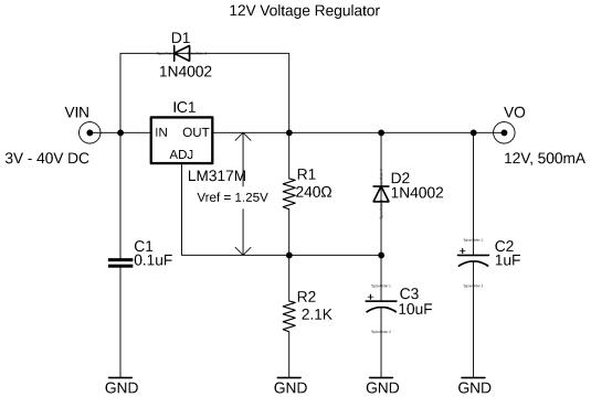 lm317 regulator, lm317 12v regulated power supply circuit diagram