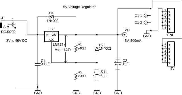 lm317 regulator, lm317 5v regulated power supply circuit diagram