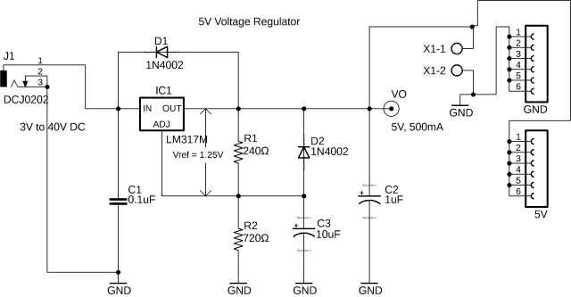 lm317 regulator, lm317 5v regulated power supply circuit diagram