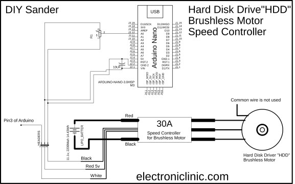 circuit diagram of Hard disk Motor paper sander
