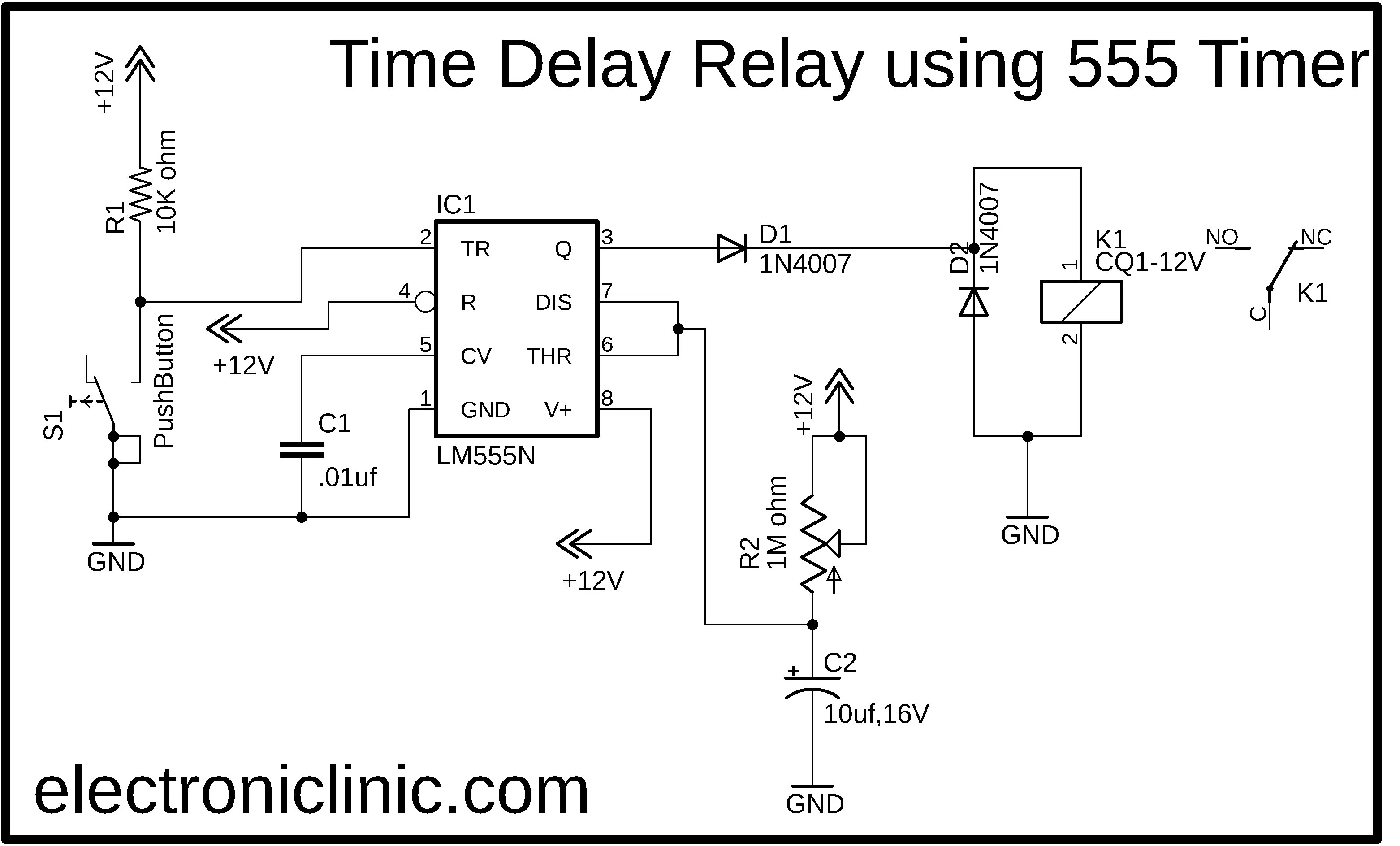 Time Delay Relay using 40 Timer, Proteus Simulation and PCB Design
