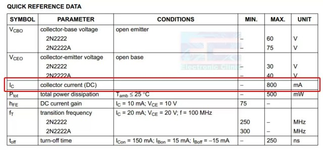 IoT Power relay 2n2222 collector current