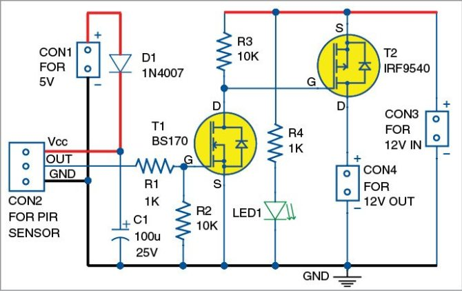 ir motion sensor relay switch  detailed project available