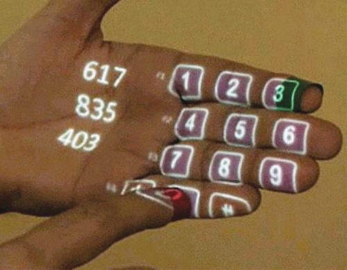 Making a phone call using Sixth Sense technology