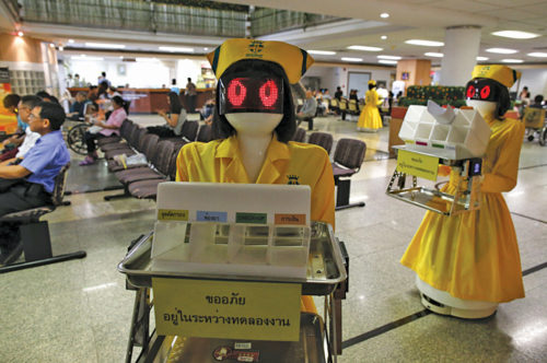Robotic nurses in a hospital in Bangkok