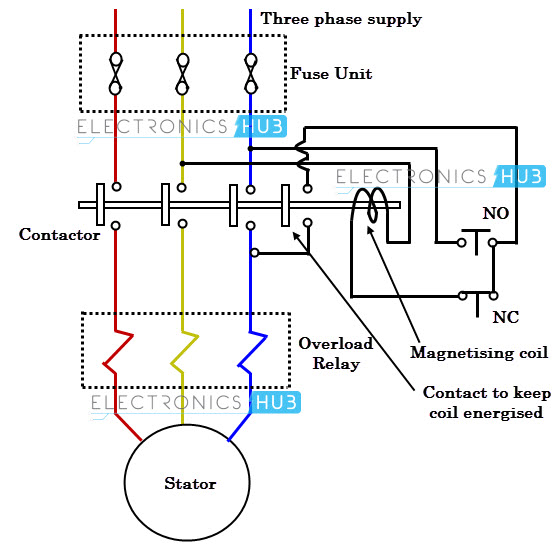 diagram wiring diagram of a direct online starter with