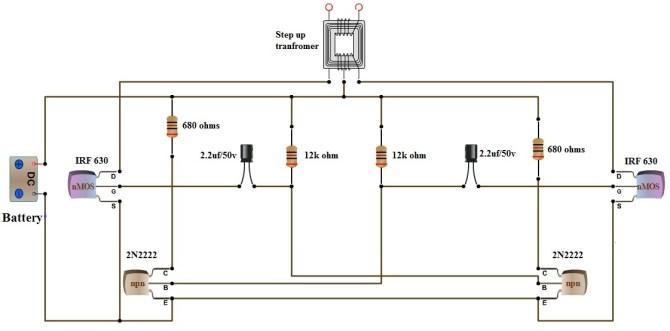 how to make 12v dc to 220v ac converter/inverter circuit design