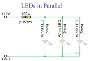 Simple LED Circuits: Single LED, Series LEDs and Parallel LEDs