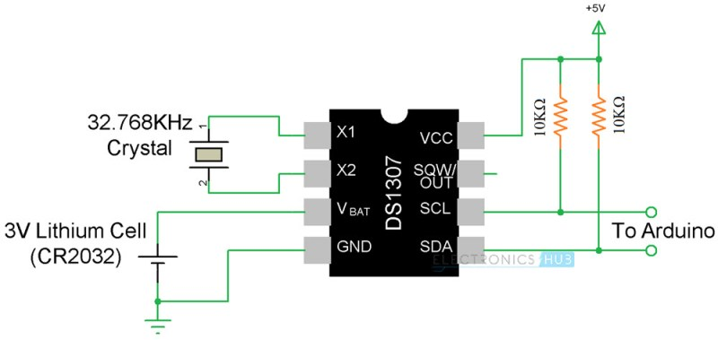 Arduino Real Time Clock DS1307 Tutorial Circuit 2