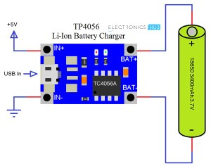 TP4056 Lithium Ion Battery Charger  Circuit, 18650