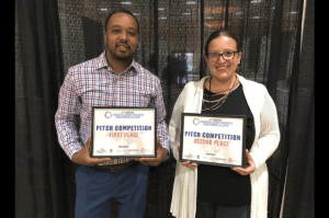 Room 38 Autobody owner Donny Rodgers, left, and Rubber City Resale founder Cassie McClellan wowed the judges at the Greater Summit Business Conference and Expo.