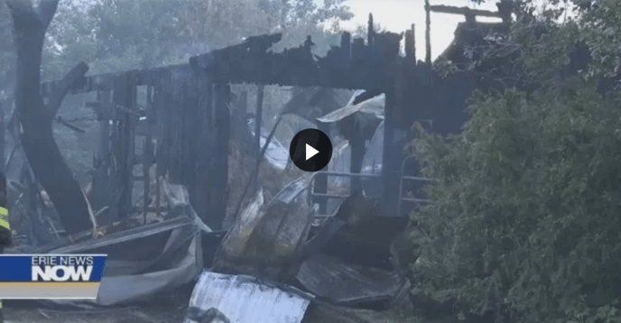 Local Man Picks up the Pieces after a Fire Destroys his Barn and Garage (image)