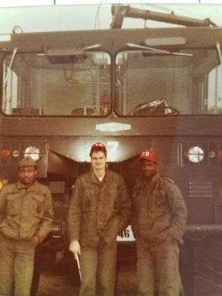 This pic is from John Larkin's years as a fire fighter and fire inspector at RAF Greenway Common from 84-91: John Larkin with nemiah Barnett and James Ediger.