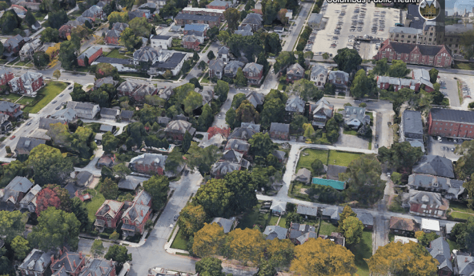 Residential real estate, Columbus, Ohio by  Google Earth (image)