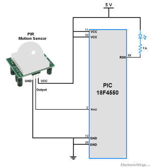 PIR Motion Sensor Interface with PIC18F4550  ElectronicWings