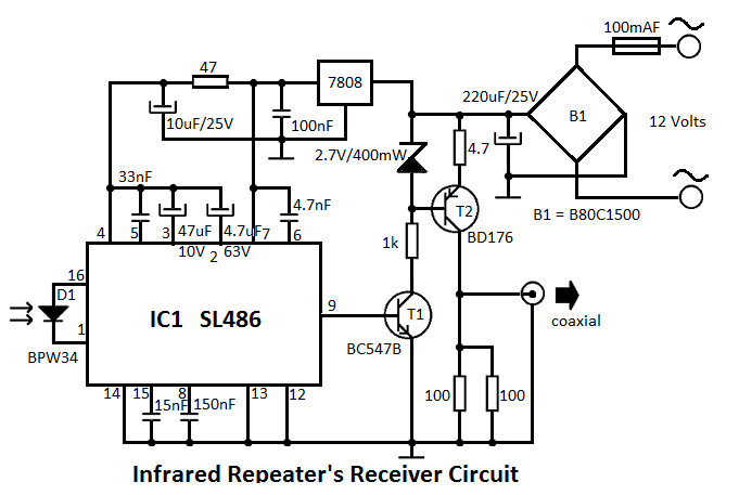 Infrared Repeater System Circuit