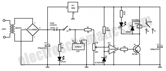 automatic battery charger circuit schematic