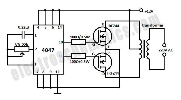 12v dc to 220v ac inverter circuit