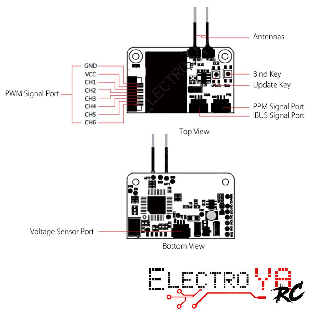 Flysky Fs X6b Reseptor With Ppm I Bus Pwm Output