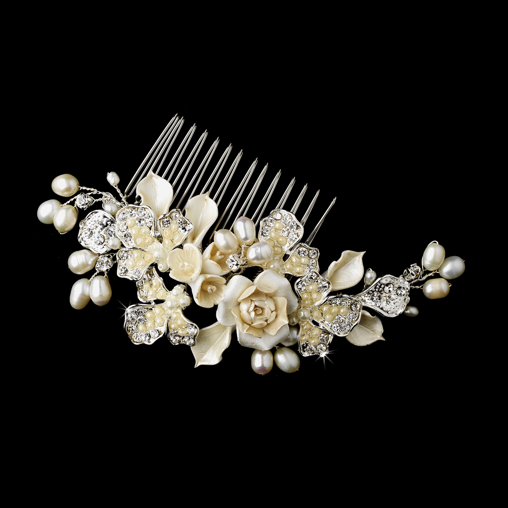 Ivory Flower Bridal Headpiece Comb Elegant Bridal Hair