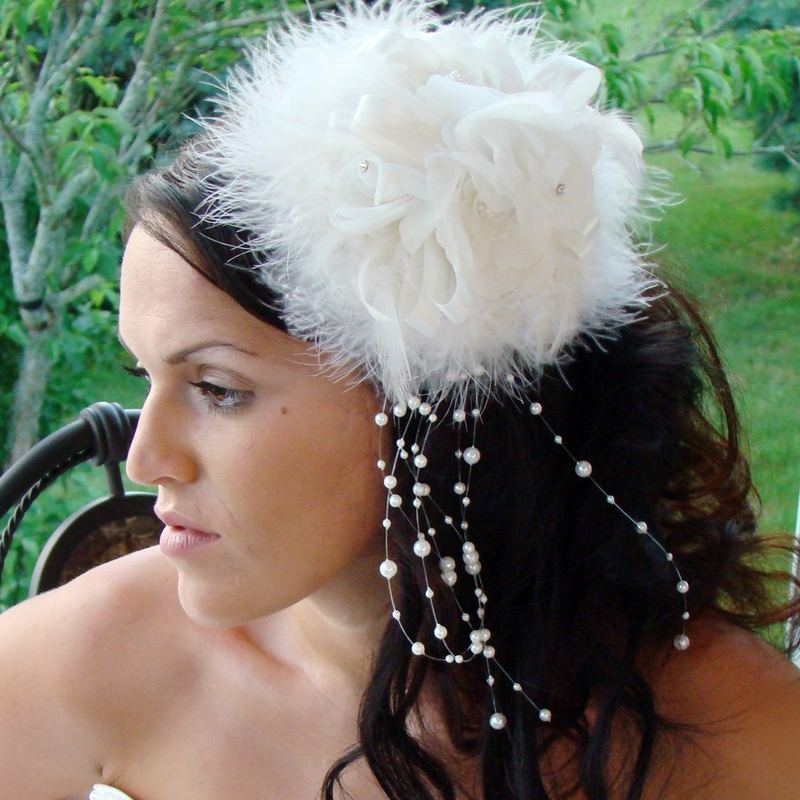 Sex In The City Feather Hat Bridal Combs Elegant