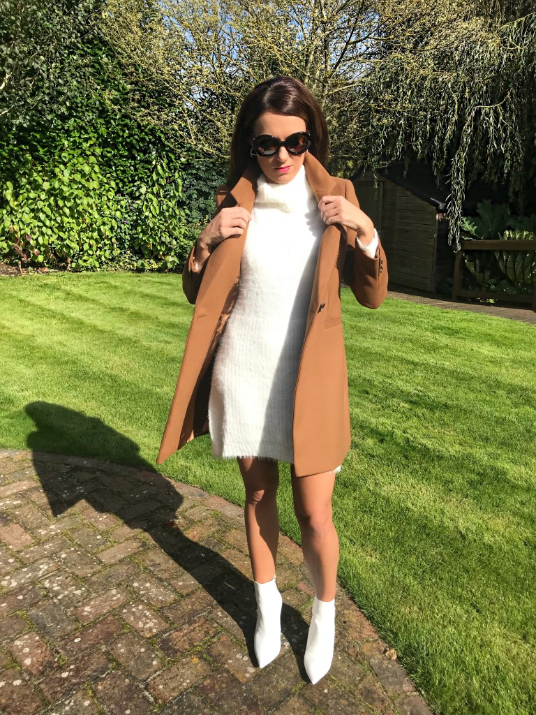 Warehouse Double Breasted Tailored Coat QED London Oversized Roll Neck Jumper Dress |Public Desire Harlee White Pointed Ankle Boots | Radley Bag | Swarovski hoop earrings | Prada Baroque Earrings