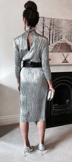 SILVER METALLICS FALL AND WINTER 2017 | PLISSE MIDI DRESS AND WIDE WAIST BELT | crystal shoes and clutch bag