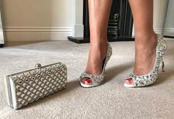 SILVER METALLICS FALL AND WINTER 2017 | jewel heeled shoes and jewelled clutch bag