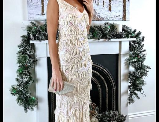 Quiz Shimmer Diamante Envelope Bag   Stephanie Pratt Sequin Flapper Maxi Dress – Cream   Lipsy Diamanté Barely There Sandals   Swarovski Earrings   Louboutin makeup