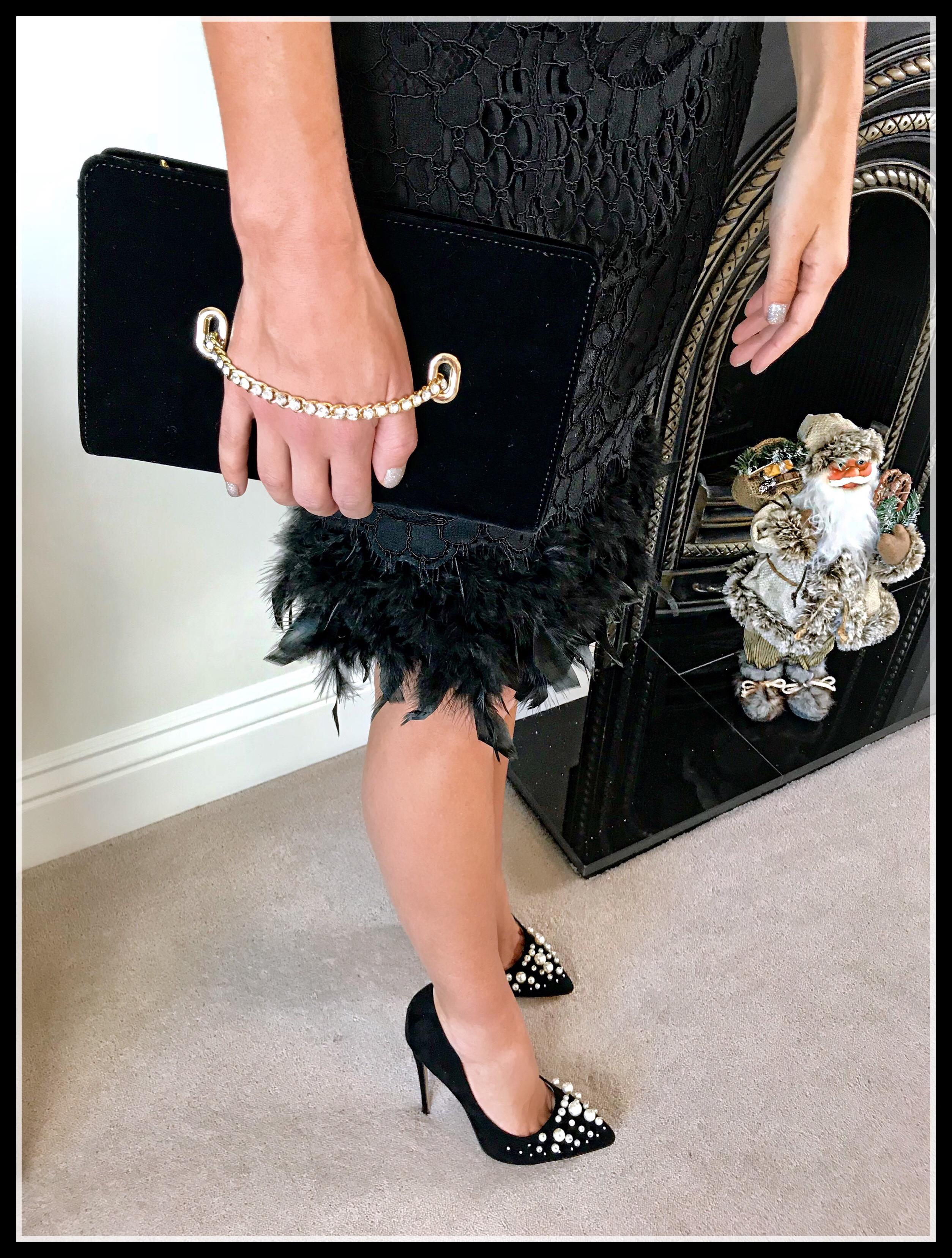 NYE inspiration | Lipsy VIP Feather Hem Lace Midi Dress | Public Desire Mayfair Pearl Detail Courts Heels | Coast Nadine Velvet Eyelet Bag