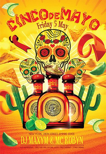 Mexican Party Free Flyer PSD Template By ElegantFlyer