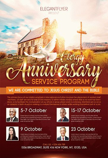 Free Pastor Anniversary Flyer Templates   by ElegantFlyer Free Clergy Anniversary Service Program Flyer