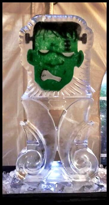 Frankenstein Ice Luge with color
