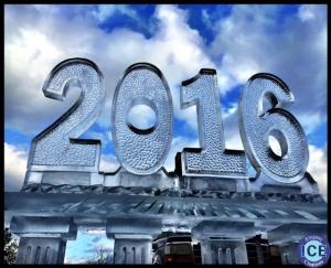 New Year 2016 on Ice Table Ice Sculpture