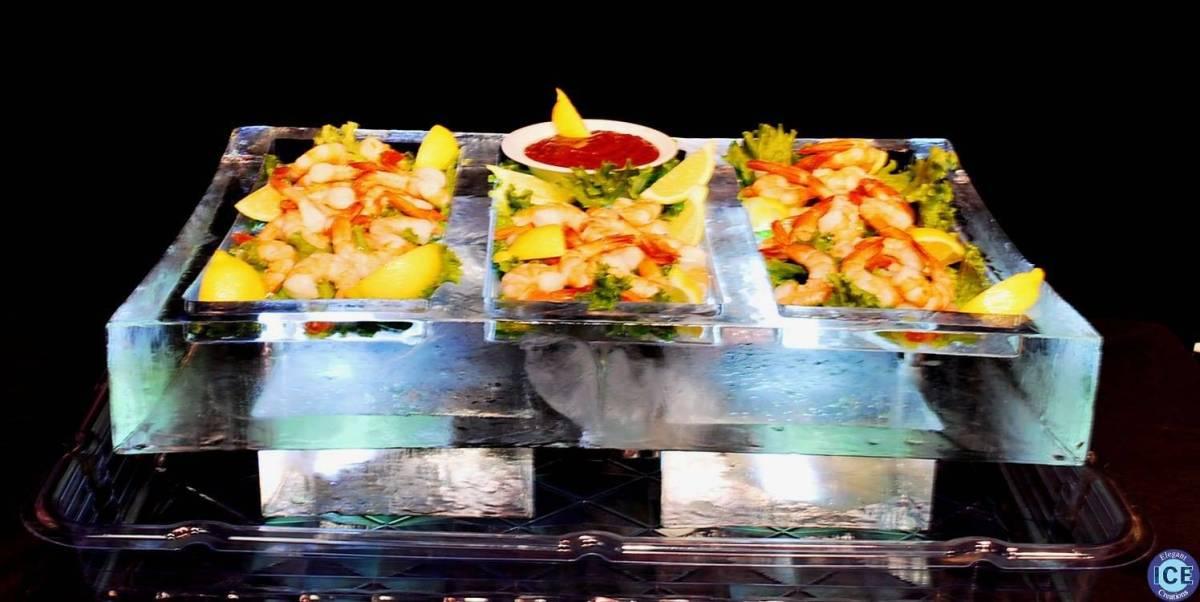 half block seafood ice table