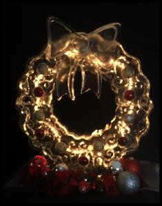 Holiday Wreath with Lights and Ornaments Ice Sculpture