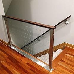 Elegant Iron Studios Custom Ornamental Metalwork Modern | Modern Cable Stair Railing | Entry Foyer | Staircase Remodel | Stair Treads | Glass Railing | Deck Railing