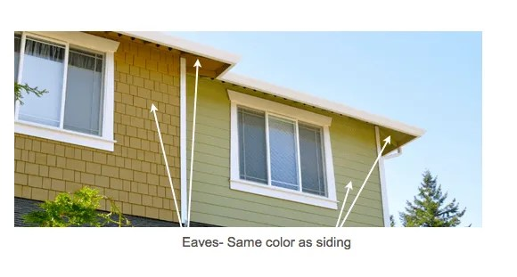 Eaves painted same color as Siding.