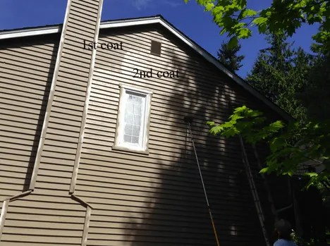 two coats of paint on cedar siding