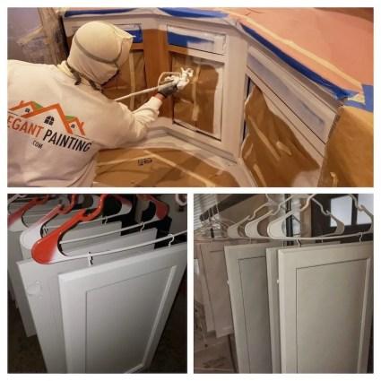 Spraying primer on kitchen cabinets 98053