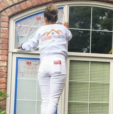masking wood window for painting