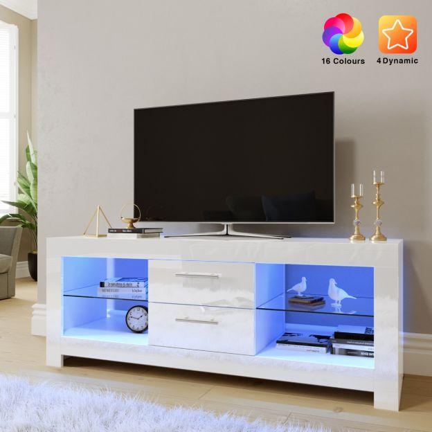 elegant 1300mm gloss white modern multi colour led tv unit stand upto 52 inches tv