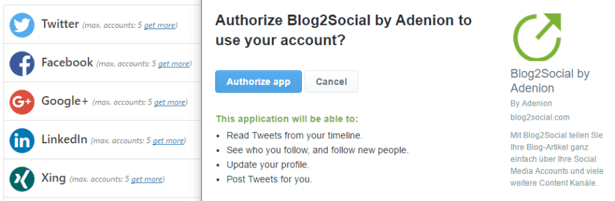 Authorizing Blog2Social to work with Twitter.